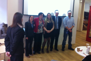 Kim Villaweaver winning Start Up Richmond's Dragon's Den Style Pitch Up Competition