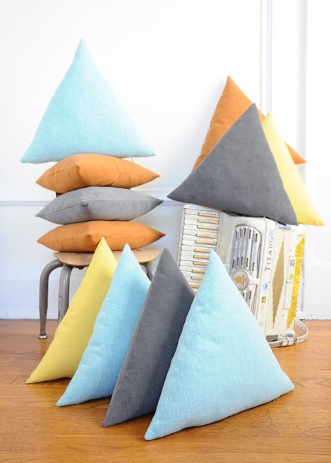 Triangle Pillow from ImaginaryAnimal on Etsy (link in text).